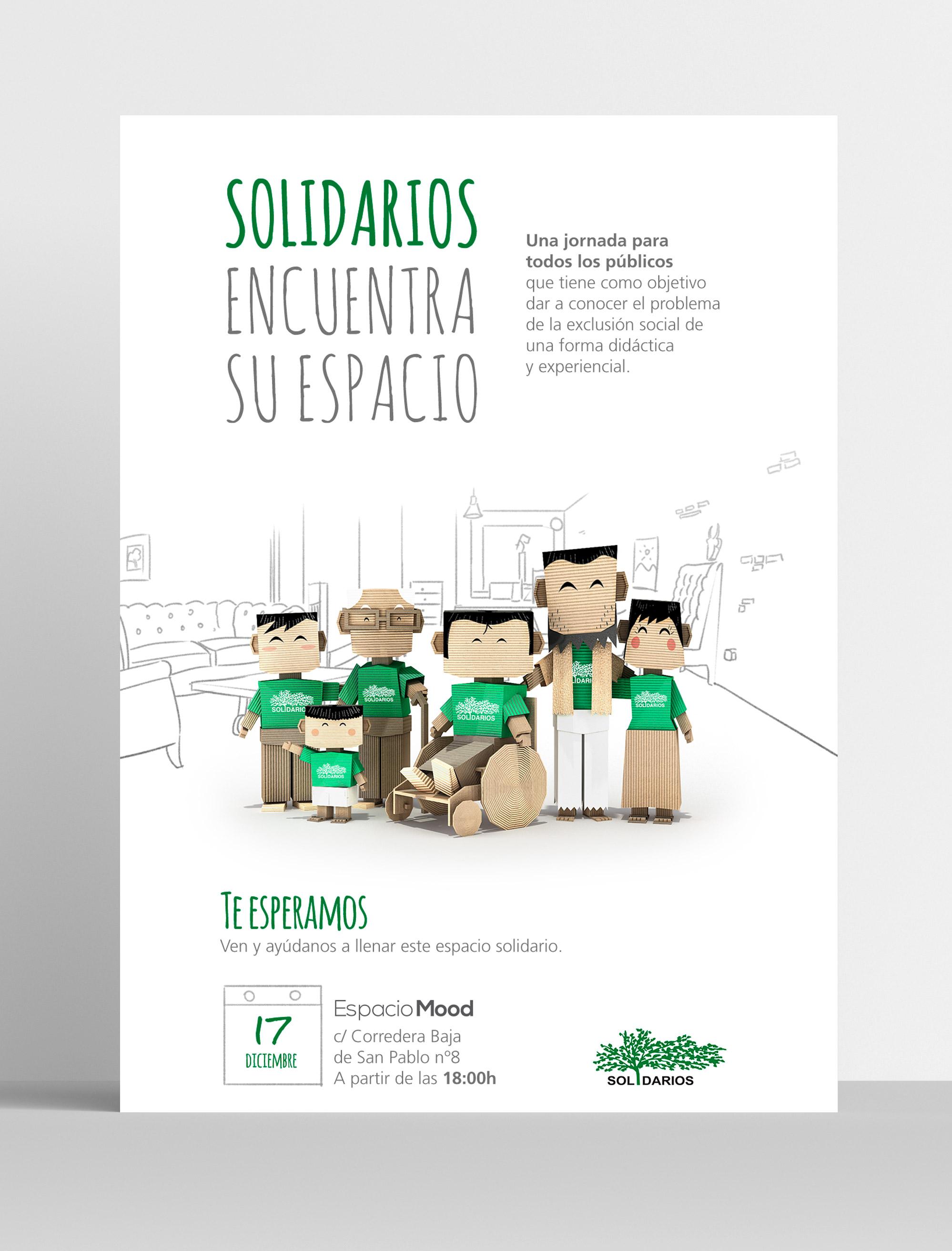 Visual de campaña del proyecto Solidarios para el Desarrollo en Espacio Mood, Madrid